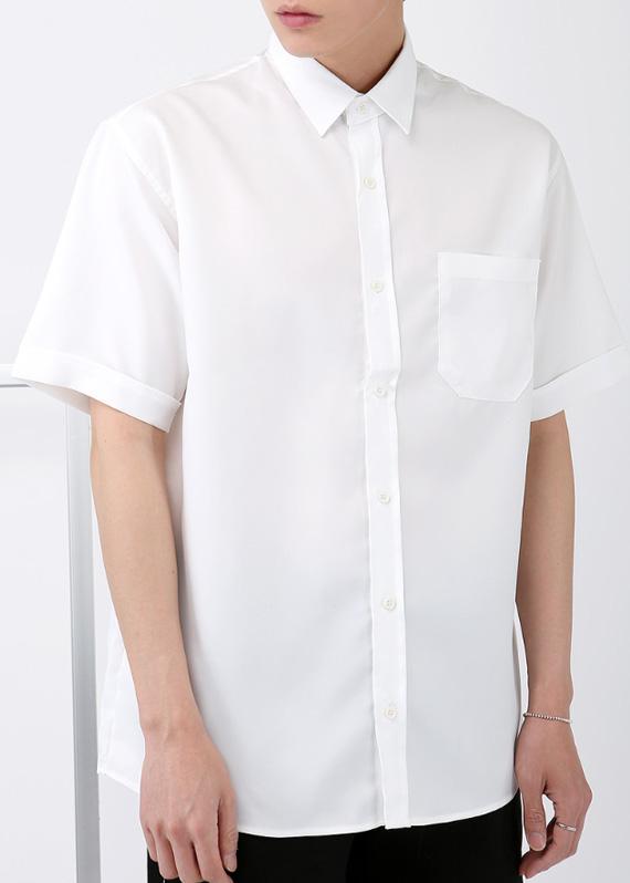 미니멀 포켓 1/2 반팔 셔츠 (6color) R#2033