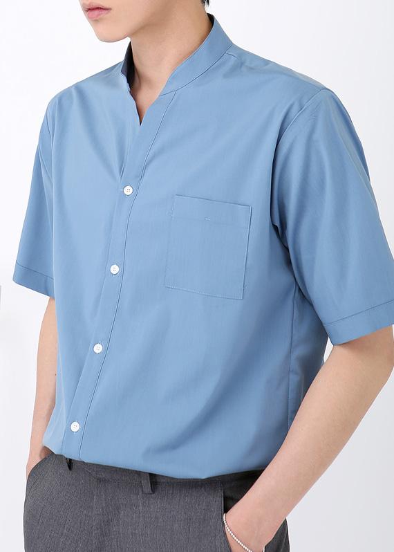 미니멀 Y카라 반팔 셔츠 (3color) R#2034