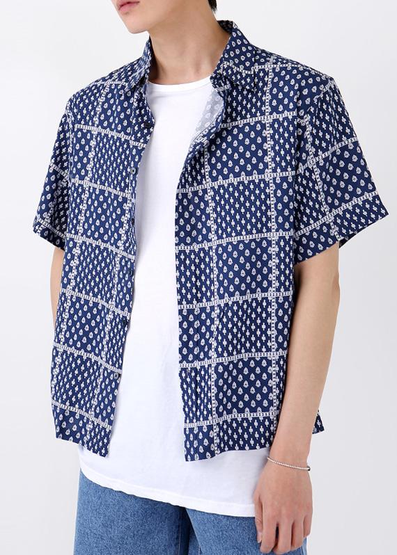 빈티지 패턴 1/2 반팔 셔츠 (2color) R#2041