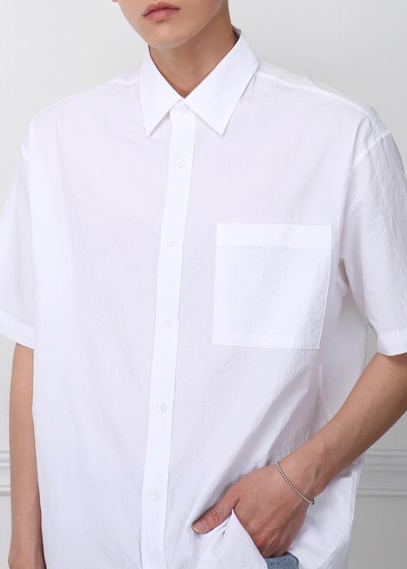 쭈구리 워싱 박스 반팔 셔츠 (3color) R#2058